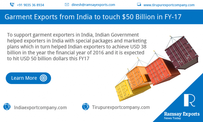 Garment Exports from India to touch $50 Billion in FY-17