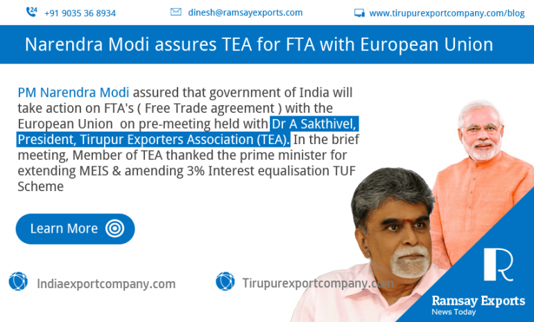 Narendra Modi assures of free trade agreement with EU